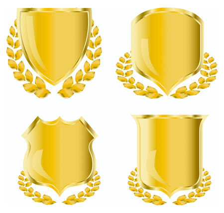 golden shield with laurel wreath   Illustration