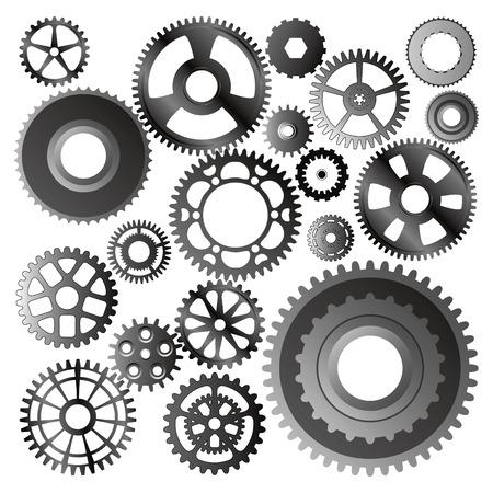 set of gear wheels vector