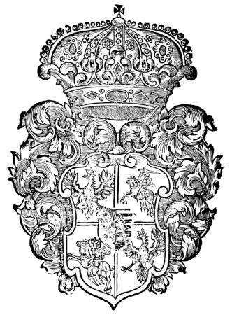 ornate heraldic shields Illustration