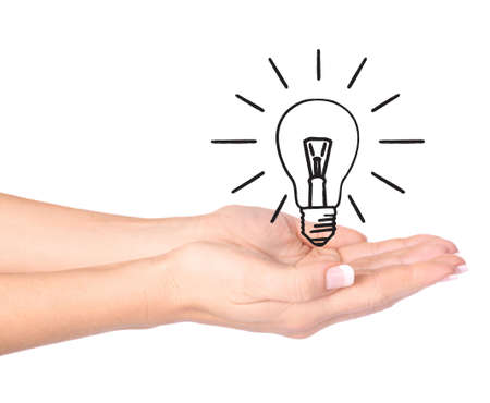 Hand holding drawn light bulb - Ecology/Environment concept