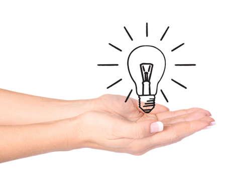idee gl�hbirne: Hand, die Gl�hbirne - �kologie  Umwelt-Konzept Lizenzfreie Bilder