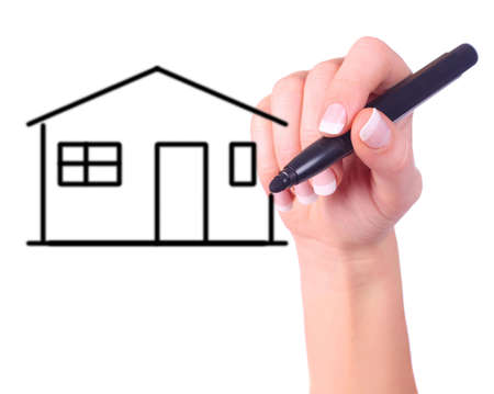 hand drawing a house on clear white background photo