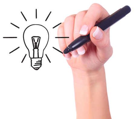 手描きの電球、エコロジー事業コンセプト - 白で隔離されます。