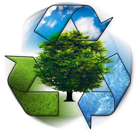 Clean environment - conceptual recycling symbol ang green tree