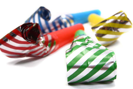 blowers: Party Blowers, photo on the white background