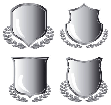 silver shields with laurel wreath on white background Stock Vector - 3883903