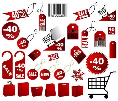 muy grande de color rojo Conjunto de etiquetas de precio en el vector de diseño