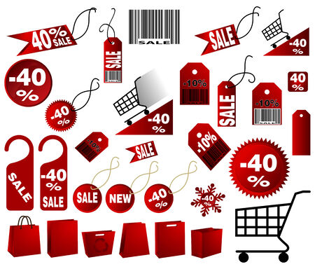 very big Set of red price tags in vector design