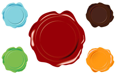 5 color vector wax seal on white background Illustration