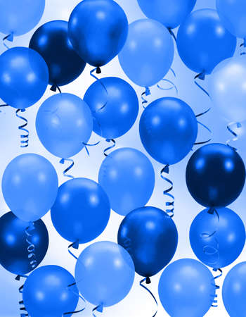 string together: Celebration or birthday Party blue balloons background