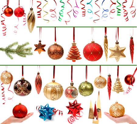 Christmas decorations set isolated on white background photo