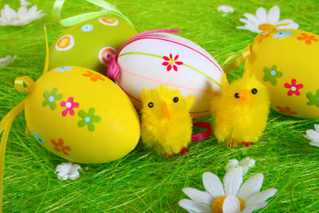 Little yellow Easter chicks and Painted Colorful Easter Egg on green Grass Stock Photo - 3906262