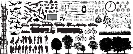 Biggest collection of different vector silhouettes on white Illustration