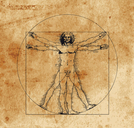 A highly stylized drawing of vitruvian man with crosshatching and sepia tones Vector Illustration