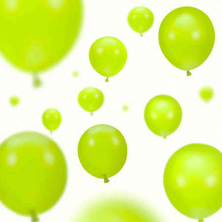 gaiety: Background of green party balloons on white