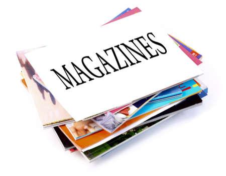 A pile of magazines on white background Standard-Bild