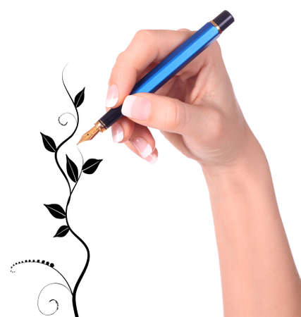 autograph: Hand with fountain pen drawing floral tree on white background