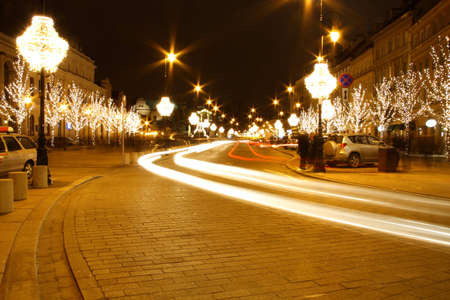 Warsaw, Poland - view at night in Christmas time photo