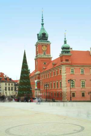 Castle Square in the old town wiht christmas tree, Warsaw, Poland photo