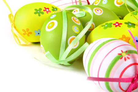 Painted Colorful Easter Eggs on white background Stock Photo - 4231046