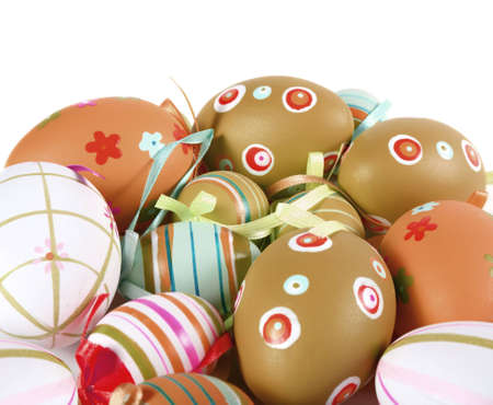 Painted Colorful Easter Eggs on white background Stock Photo - 4264226