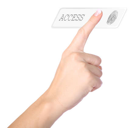 granting: woman pushing thumb scan for granting access