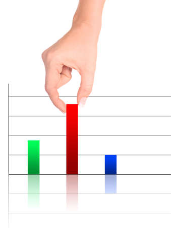 Colorful increasing bar graph - Hand holding smallest pole photo