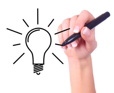 id�e lumineuse: Dessin � la main ampoule, isol� sur blanc - �cologie  Business concept