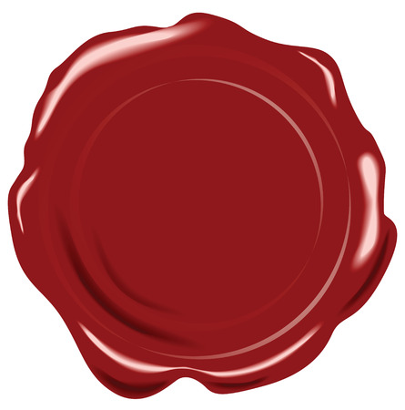 Red vector wax seal on white background Illustration