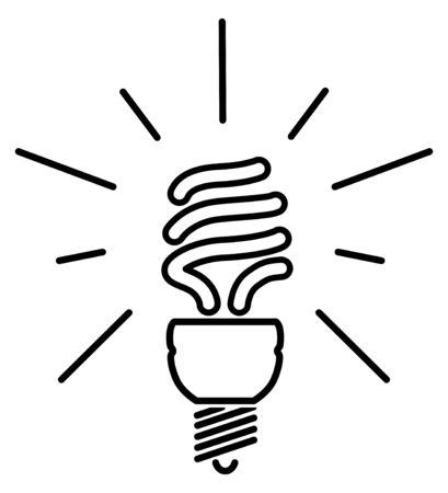 Energy saving fluorescent light bulb - editable vector