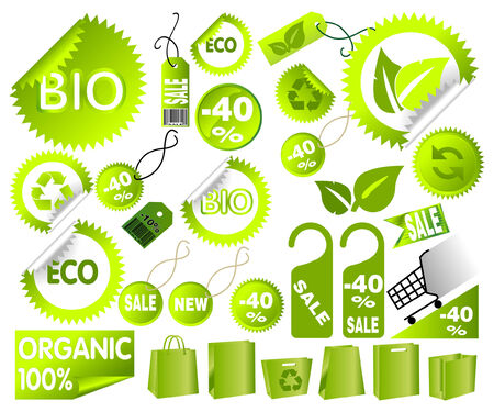 Big Set of green environmental icons, vector art