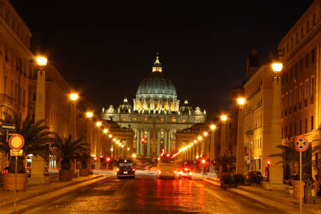 st  peter's basilica pope: classic view of saint peters basilica lit up at night