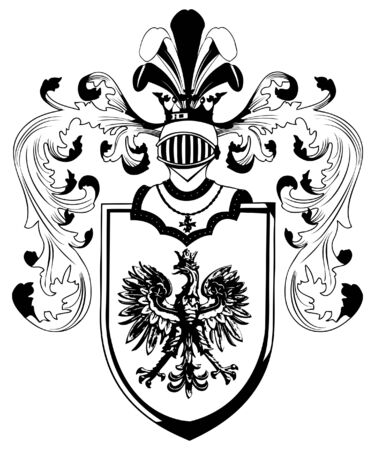ornate heraldic shields illustration on white background Illustration