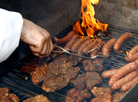 Close up of grilled meat and sausage, outdoor photo