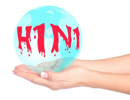 Swine flu virus in hands over white background Stock Photo - 5107371