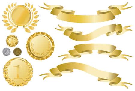 set of curled golden ribbons, medallions and medal Illustration