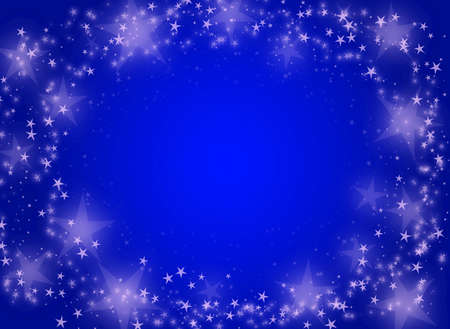 Magic abstract blue christmas background with stars photo