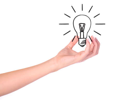 Hand holding drawn light bulb - Ecology/Environment concept Stock Photo - 5542072