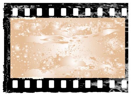 Aged vector illustration of a grunge filmstrip frame. Illustration