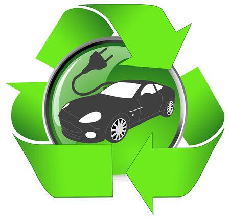 Concepto de vehículo eléctrico - cable de alimentación eléctrica con un coche en forma de cable.