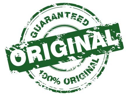 Green grunge stamp with 100% original guaranteed Illustration