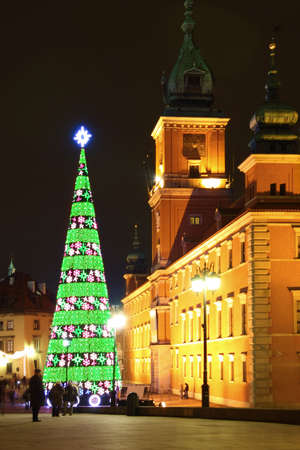 Castle Square view at night in the old town, Warsaw, Poland photo