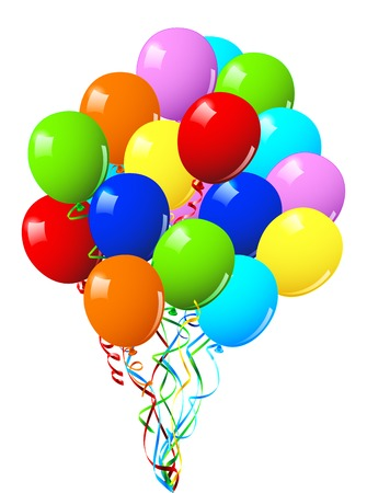 Celebration or birthday Party balloons on a white background Illustration