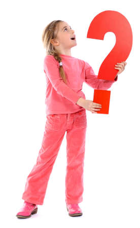 Girl holding question mark photo