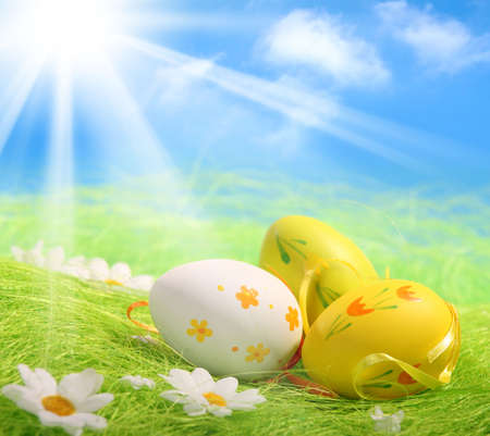 greenfield: Easter Eggs sitting on grass field with blue sky background