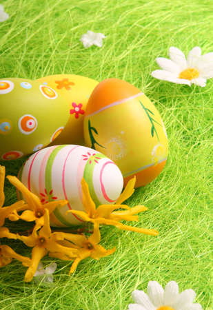 Easter Eggs sitting on grass field - close up