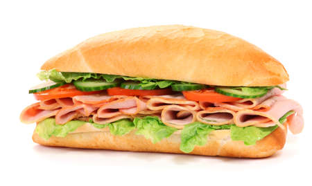 turkey bacon: Long sandwich isolated on the white background