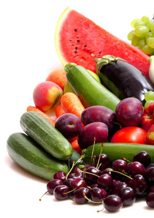 Fresh Vegetables, Fruits and other foodstuffs on white Stock Photo - 7023685