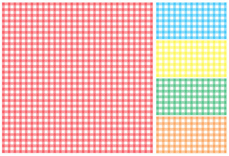 Easy tilable red, green, blue, yellow and orange picnic tablecloth