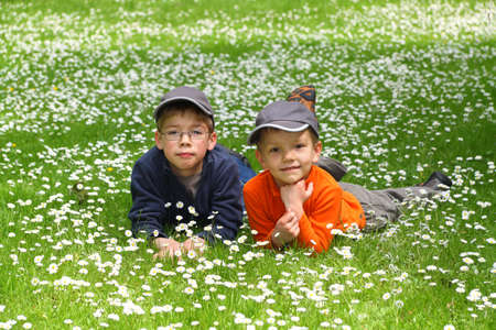 Portrait of cute brothers lying on green grass and looking at camera  photo
